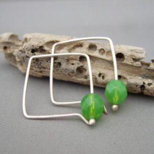 Lime Green Square Hoop Earrings