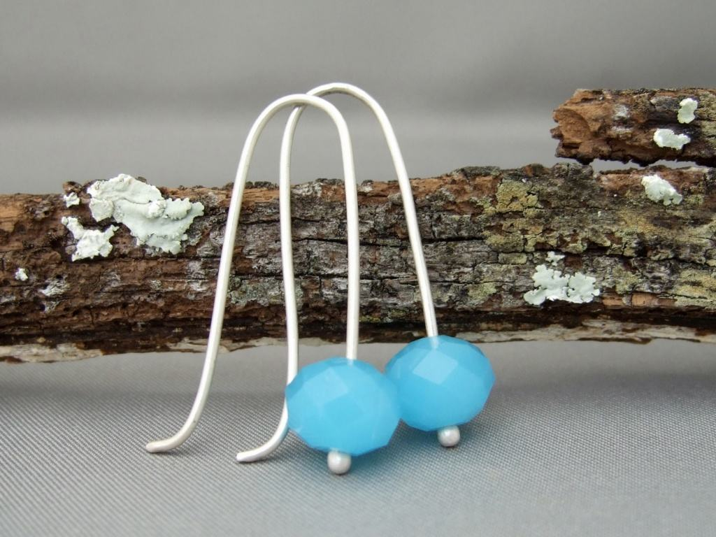Sky Blue Opaque Czech Glass Sterling Silver Modern Contemporary Drop Earrings