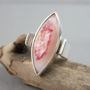Peachy Blush Drusy Agate and Sterling Silver Ring