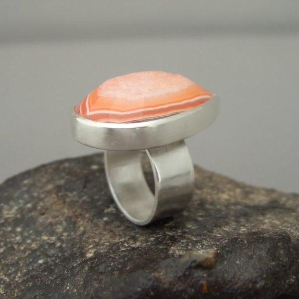 Persimmon Orange Drusy and Sterling Silver Cocktail Ring