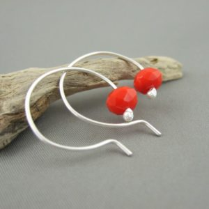 Coral Red Opaque Czech Glass Sterling Silver Modern Contemporary Hoop Earrings