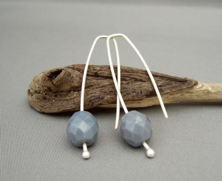 Grey Czech Glass Earrings