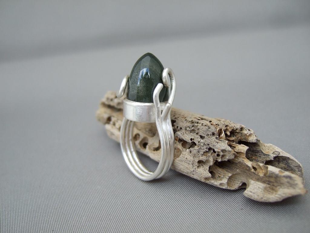 Lodolite and Sterling Silver Ring