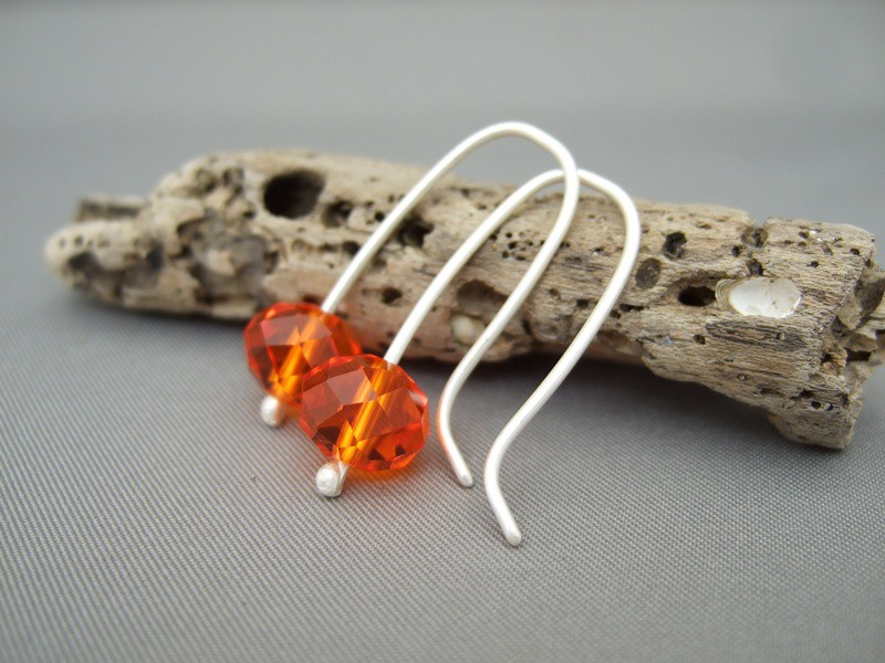Fanta Orange Czech Glass Earrings