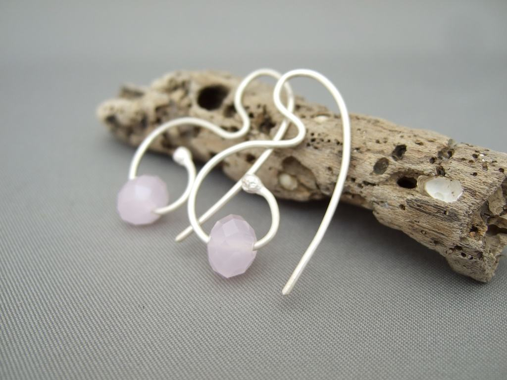Pink Czech Glass and Sterling Silver Earrings