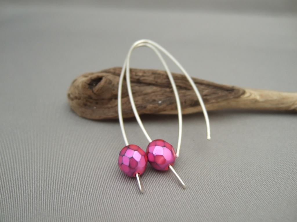 Fucshia Pink Czech Glass Sterling Silver Modern Contemporary Drop Earrings