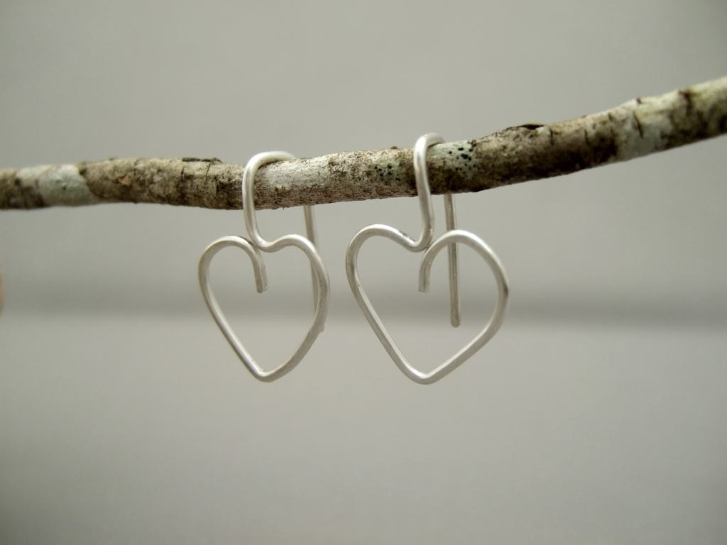 Heart Earrings. Sterling Silver Modern Contemporary Drop Earrings.