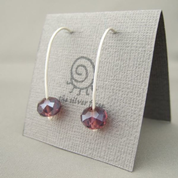 Acai Purple Czech Glass Sterling Silver Modern Contemporary Dangle Earrings