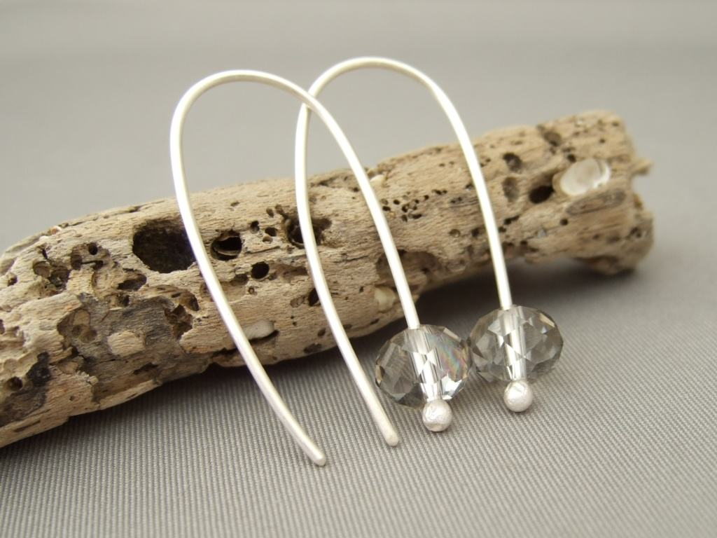 Sterling Silver Smoke Grey Czech Glass Modern Contemporary Dangle Earrings