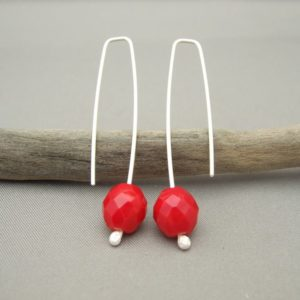 Poppy Red Faceted Czech Glass Earrings