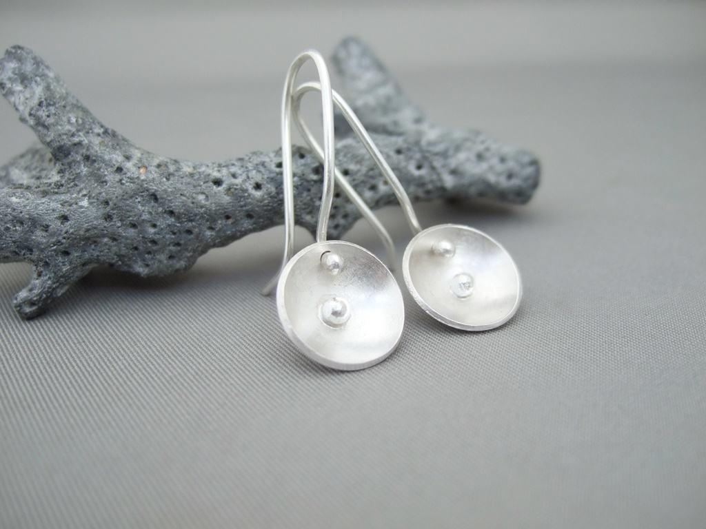 Domed Dish Solitary Sphere Sterling Silver Earrings
