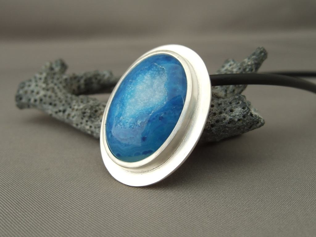 Electric Blue Drusy Agate Pendant