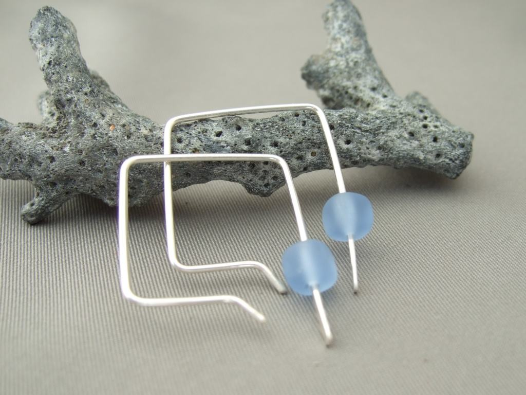 Periwinkle Blue Czech Glass Cube Sterling Silver Sleek Modern Dangle Earrings