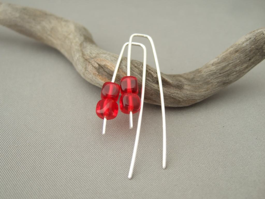 Cherry Red Czech Glass Cube Sterling Silver Dangle Earrings