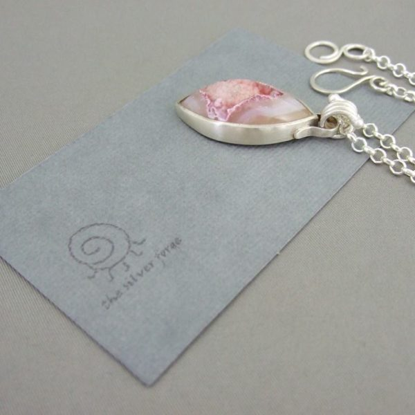 Dusky Pink Drusy Agate and Sterling Silver Pendant