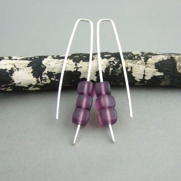 Acai Purple Cube Earrings