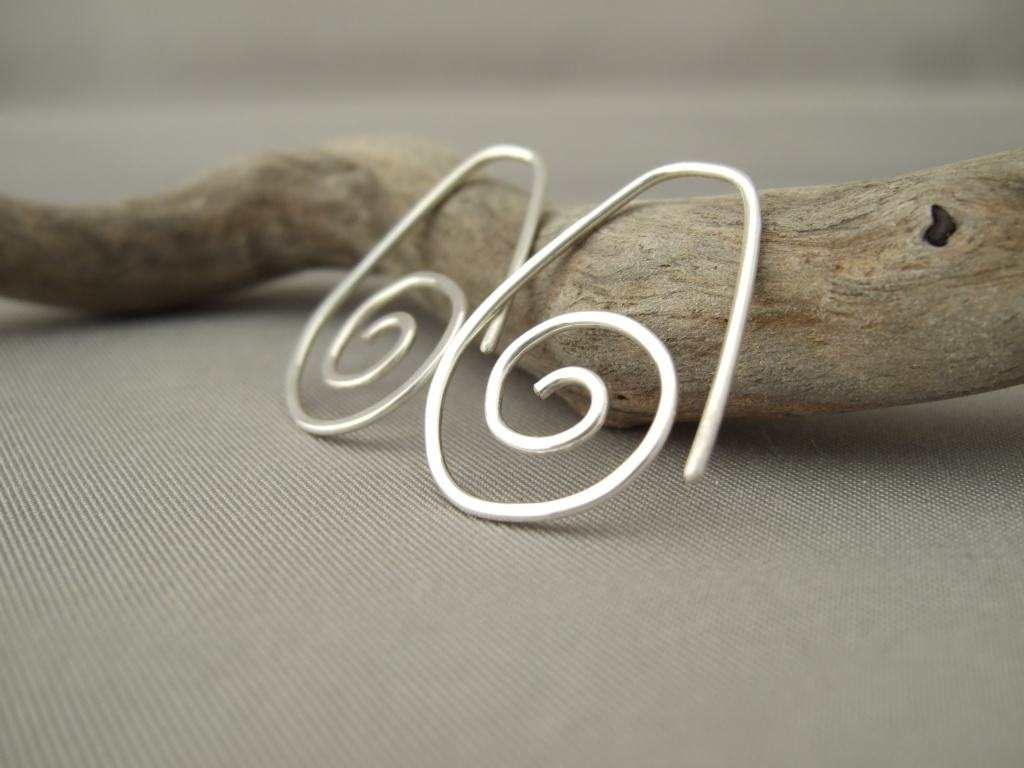 Spiral Dangle Sterling Silver Sideways Earrings