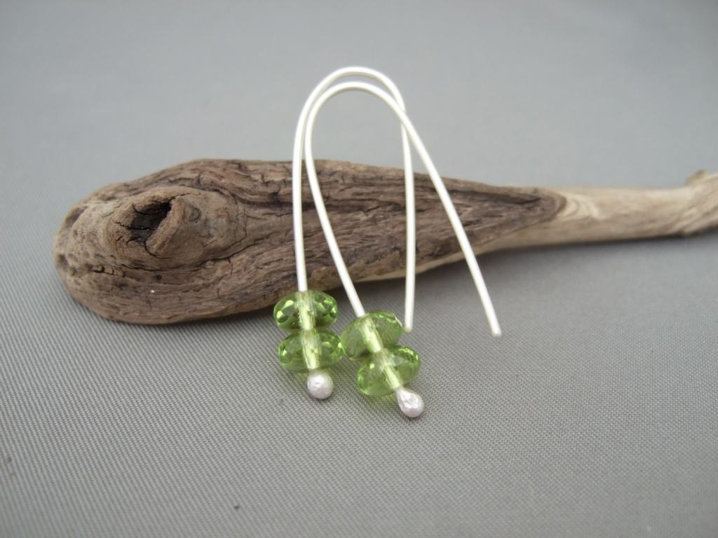 Pale Lime Green Dangle Earrings. Czech Glass and Sterling Silver Drop Earrings.