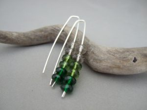 Green Ombre Earrings. Czech Glass and Sterling Silver Ombre Earrings.