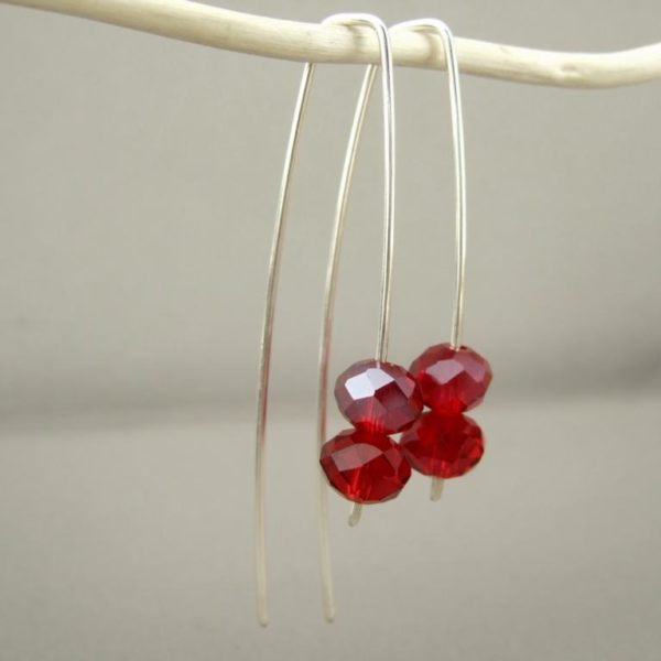 Long Red Czech Glass Sterling Silver Sleek Fresh Drop Earrings