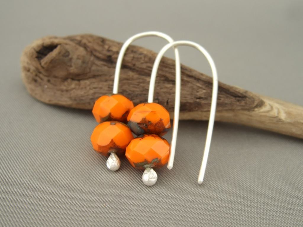 Pumpkin Orange Sterling Silver Czech Glass Modern Fresh Dangle Earrings