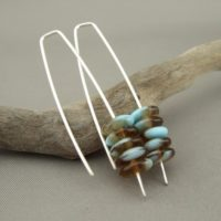 Brown and Blue Stacked Czech Glass and Sterling Silver Earrings