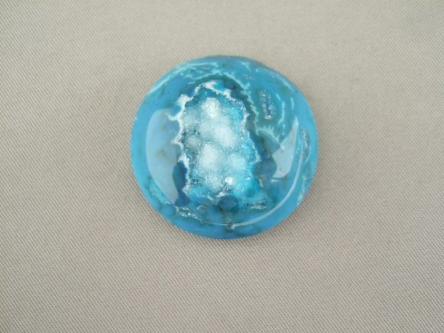 Peacock Blue Round Drusy Agate Cabochon