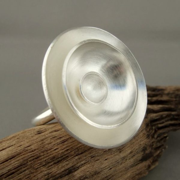 Large Round Poppy Dome Sterling Silver Cocktail Statement Ring