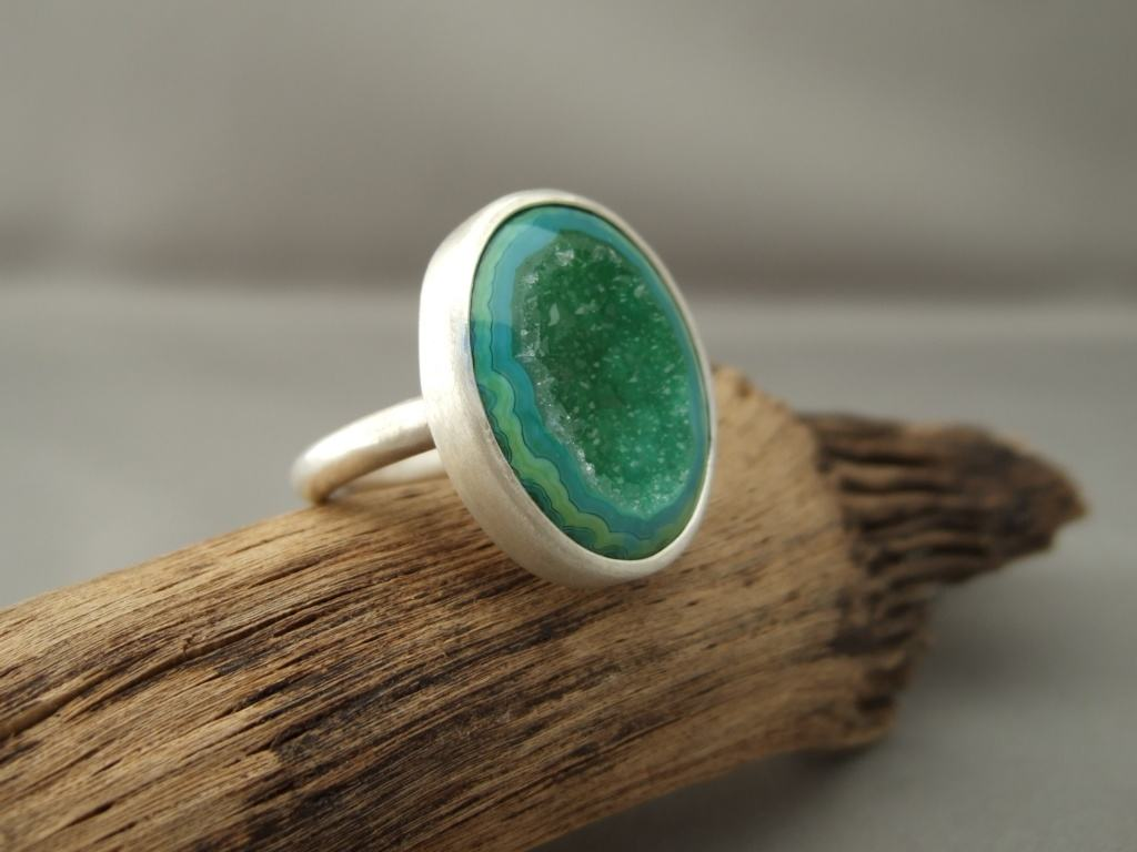Grassy Green Drusy Agate and Sterling Silver Ring