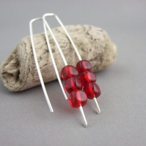 Cherry Red Cube Earrings