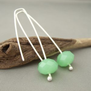 Spearmint Green and Sterling Silver Czech Glass Dangle Earrings