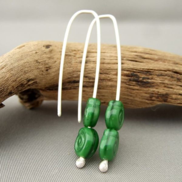 Forest Green Spiral Swirl Czech Glass Earrings. Sterling Silver Drop Earrings.