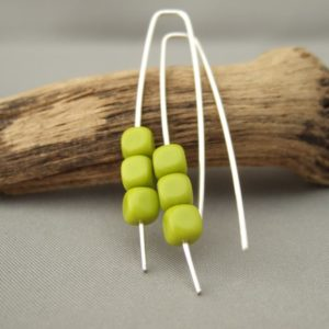 Chartreuse Cube Czech Glass and Sterling Silver Modern Earrings