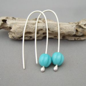 Turquoise Blue Melon Czech Glass Sterling Silver Contemporary Drop Earrings