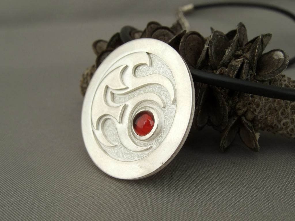 Zodiac Fire Sign Garnet Set Flame Pendant. Aries, Sagittarius, Leo Element Necklace.