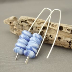 Delft Blue and White Stacked Czech Glass Earrings in Sterling Silver