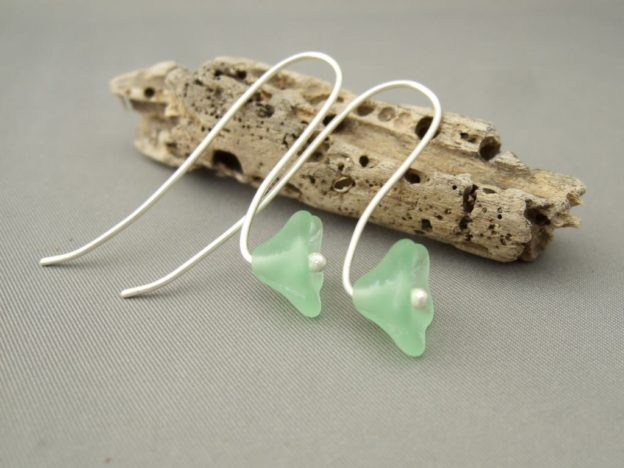 Pale Green Flower Czech Glass Earrings. Sterling Silver Drop Earrings.