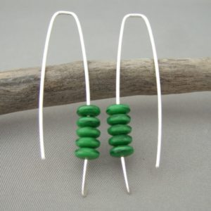 Racing Green Czech Glass Stacked Sterling Silver Fresh Modern Dangle Earrings