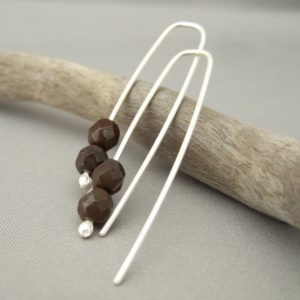 Chocolate Brown Sterling Silver Czech Glass Dangle Earrings