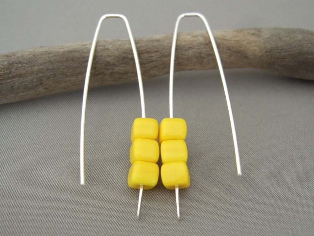 Daffodil Yellow Czech Glass Cube and Sterling Silver Earrings
