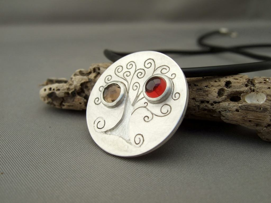 Sterling Silver, Garnet and Cairngorm Tree of Life Pendant