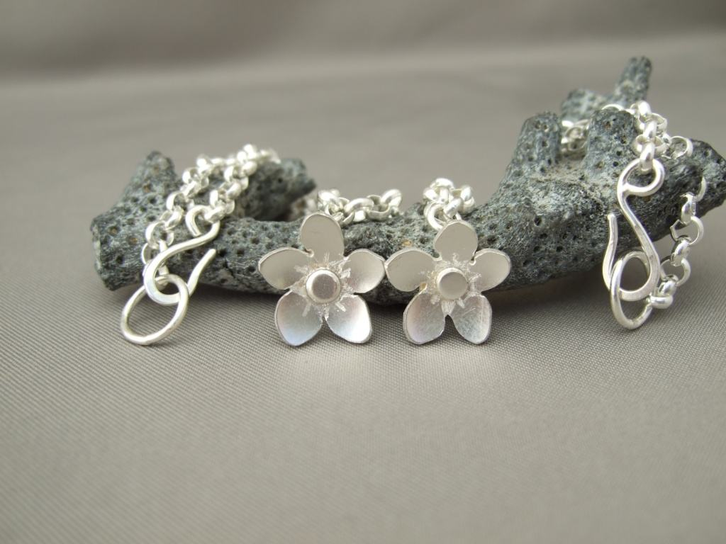 Sterling Silver Forget-Me-Not Charm Bracelets