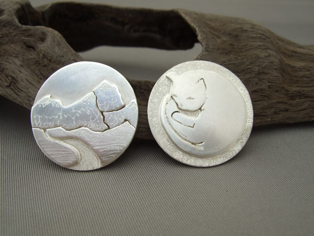 Sterling Silver Mountain Range and Sleeping Cat Rings