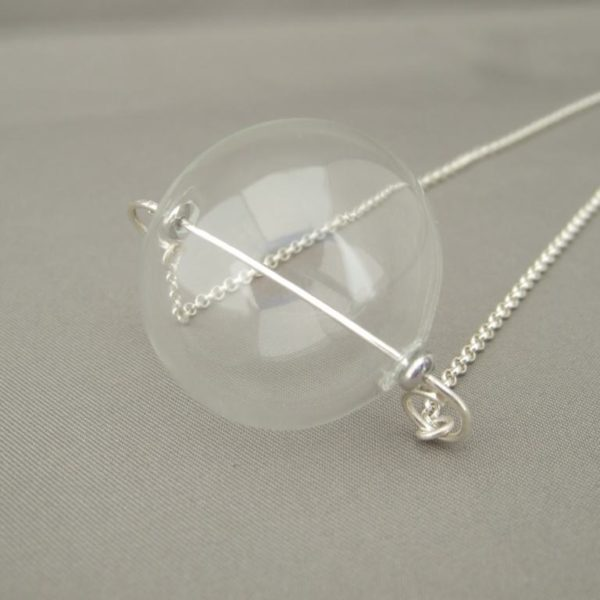 Large Handblown Glass Bubble Pendant. Sterling Silver and Hollow Glass Necklace.