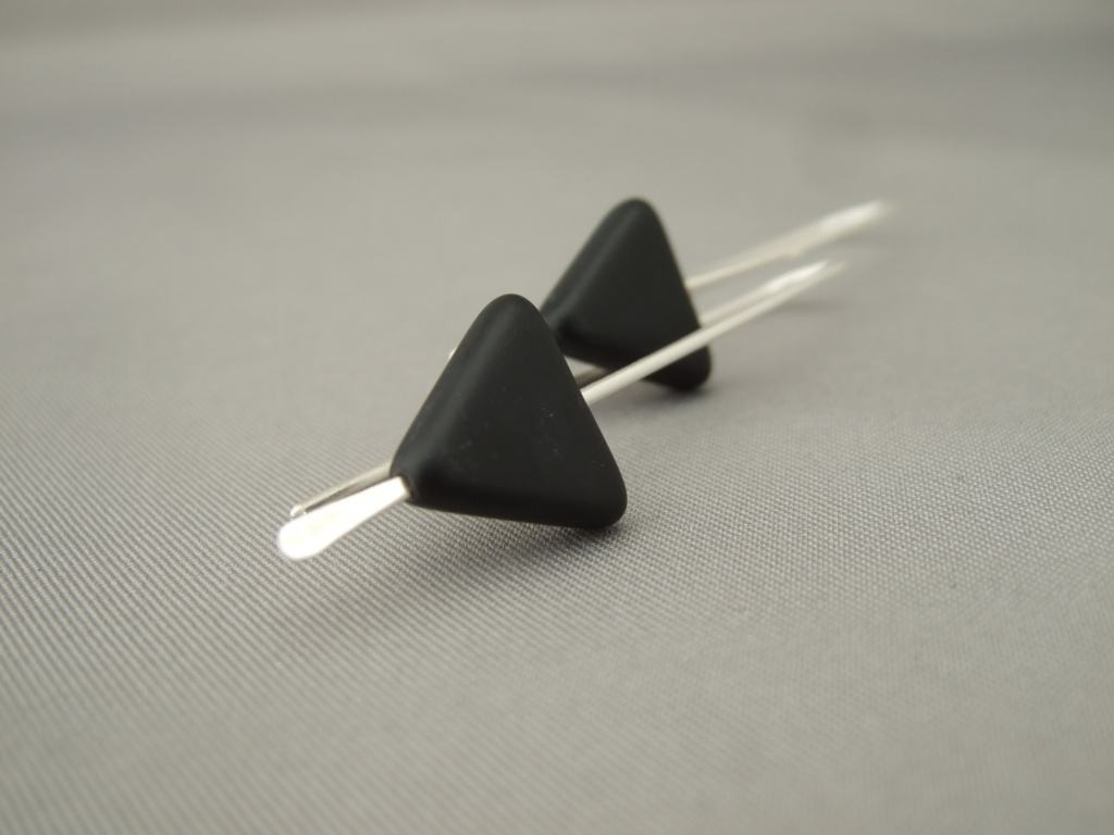 black triangle geometric earrings the silver forge. Black Bedroom Furniture Sets. Home Design Ideas