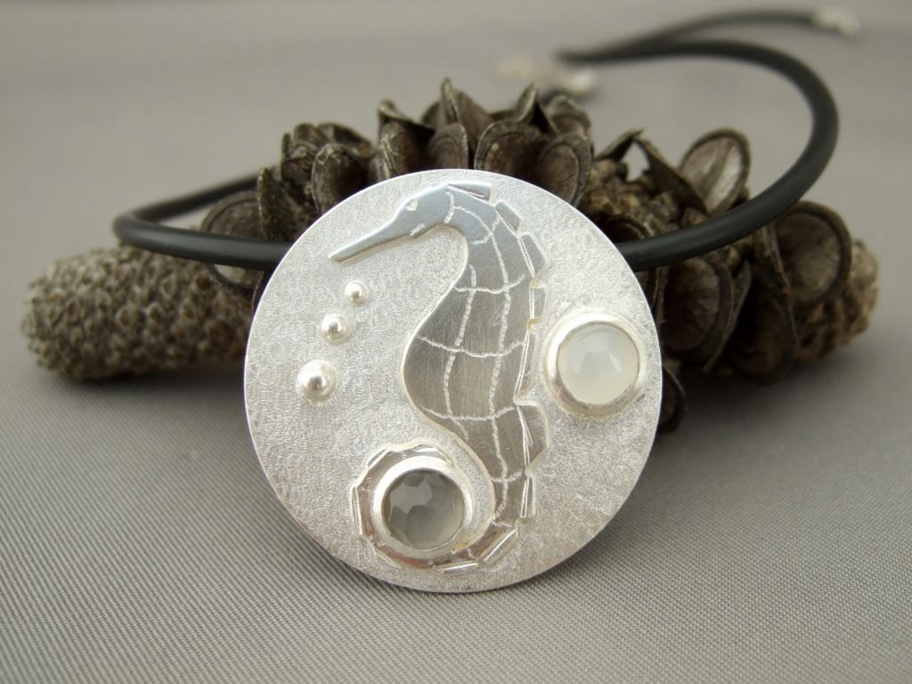 Moonstone and Sterling Silver Seahorse Pendant