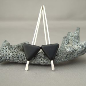 Black Triangle Czech Glass Geometric Sterling Silver Modern Dangle Earrings
