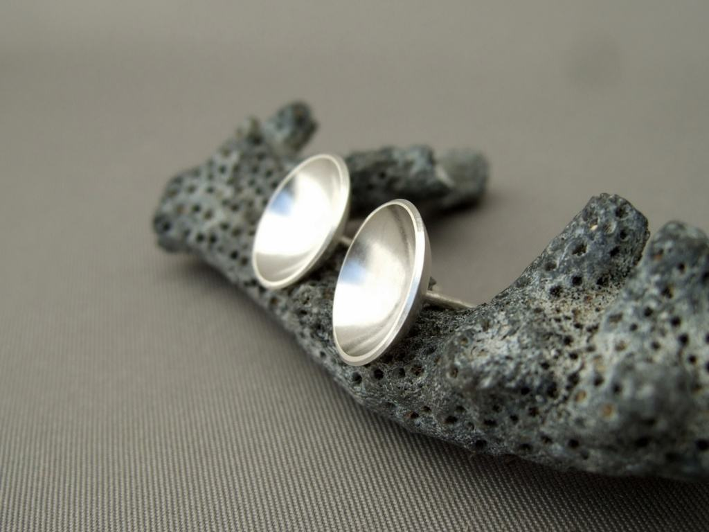 Sterling Silver Domed Stud Earrings