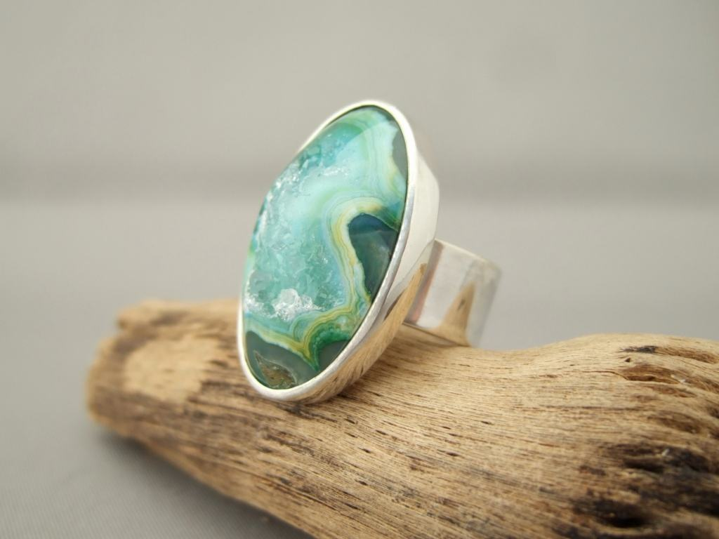 Minty Green Drusy Agate and Sterling Silver Ring