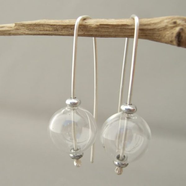 Clear Handblown Glass Bubble and Sterling Silver Earrings